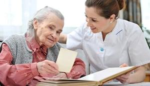 senior with nurse